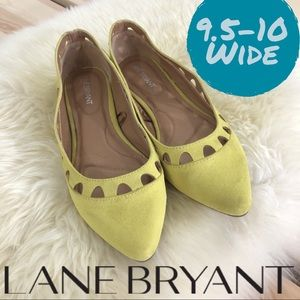 Lane Bryant 9.5-10 Wide Neon Yellow Cut-Out Flats